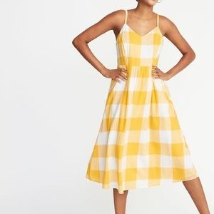 Old Navy Fit & Flare Gingham Cami Midi [Size: XXL]